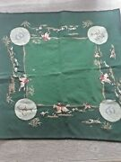 Vintage Hand Embroidered Fox Hunt Motif Wool Tablecloth 34''x34''