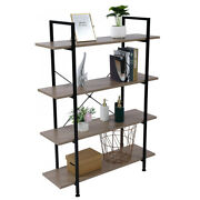 4-tier Industrial Bookcase And Book Shelves, Vintage Wood And Metal Bookshelves