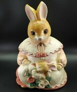 Vintage Mother Rabbit And Baby Bunny Cookie Jar Glass Eyes Japan