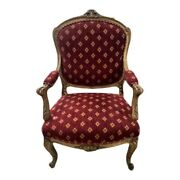 Antique Gilt French Arm Bergaire Chair Red Fabric