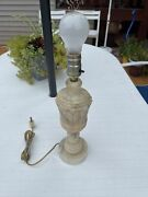 Antique Alabaster / Marble Table Lamp - 14 Tall