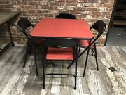 Vintage Samsonite Mid Century Modern Red Vinyl Dining Card Table And Chairs Set
