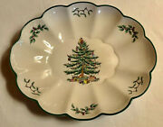 Christmas Tree Green Trim By Spode Oval Fluted Bowl 10 1/2andnbsp England