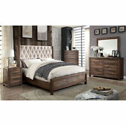 Contemporary 4pc Bedroom Furniture Queen Size Bed Dresser Mirror Ns Natural Tone