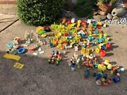 Vintage Fisher Price Little People Play Family Sesame Street House Lot Wood