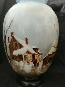 Baccarat Or Smith Bros. Winter Landscape Hand Painted Opaline Glass Vase