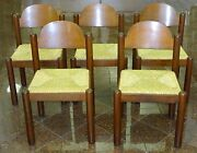 Lot Of 5 Mid Century Modern 1960and039s Manner Of Charlotte Perriand Rush Seat Chair