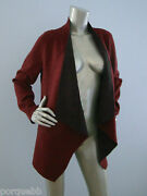 Nwt Eileen Fisher Burgundy Passion Flower / Gray Lining Wool Moto Long Jacket