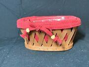 Longaberger Little Laundry Booking Basket W/ Paprika Liner And Protector