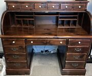 Vintage Ethan Allen Roll Top Desk Tavern Pine 1970s Large Executive Discontinued