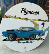 Vintage Style Beep Beep Plymouth Road Runner Oil Metal Heavy Quality Sign