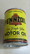 Original Vintage Pennzoil One Quart Motor Oil Can Metal Gas Sign Full Nice One