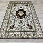 5and039x8and039 Handknotted Silk Carpet Home Indoor Furniture Kid Friendly Area Rug Y270b