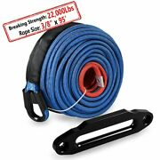 Blue 95and039 3/8 Synthetic Winch Rope 22000lb Line Cable W Black 10 Hawse Fairlead