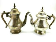 Antique Moroccan Hand Carved Weighted Small Tea Pots Floral Silver