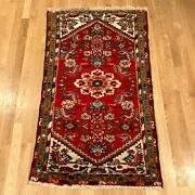 Vintage Rug 2and039 6 X 4and039 4 Red Farmhouse Rug Hand Knotted Oriental Rug