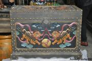 25 Old Dynasty Palace Lacquerware Wood Lion Foo Dog Treasure Chest Storage Box