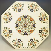 36 Center Table Top Marble Semi Precious Stones Floral Inlay Work