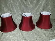 Set 3 Deep Red Bell Shaped Silk Clip-on Lamp Shades 6 Tall 94
