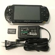 Black Sony Psp 1000 System W/ Charger And Memory Card Bundle Tested Import
