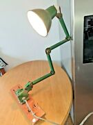 Vintage English Green Enamelled Industrial 4 Point Anglepoise Table Lamp Vgc