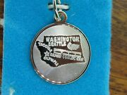 Vintage Silver Seattle Washington State Map Disc Charm New Stock Display Card