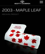 Scotty Cameron Putter Cover Maple Leaf Red Pattern On A White Background