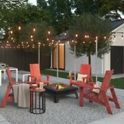 5 Piece Red Adirondack Chair And Firepit Chat Set Home Outdoor Furniture