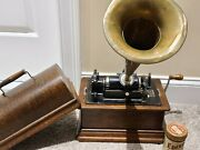 Antique Working 1905 Edison Standard Oak Wind-up Cylinder Phonograph With Horn