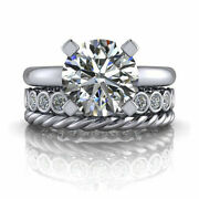 Round Real Diamond 3.20 Ct Engagement Ring Fine 14k White Gold Band Size 5 7 8 9