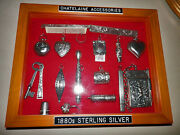 Extraordinary Sterling 16 Pc Chatelaine Accessories Displayed Custom Shadowbox