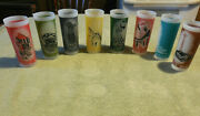 8 Vintage 1962 Seattle Worlds Fair Tall Frosted Drinking Glasses Complete Set S