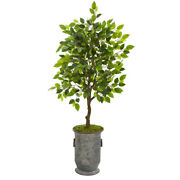 41 Ficus Artificial Tree In Vintage Metal Planter Nearly Natural 9948