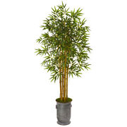 68 Bamboo Artificial Tree In Vintage Metal Planter Nearly Natural 9851
