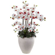 Phalaenopsis Orchid With White Planter Nearly Natural 1420-wh
