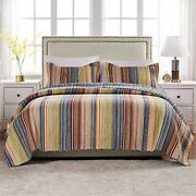 Chic And Versatile The Katy Quilt Set Features A Variety Of Warm And Cool Co...
