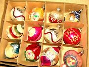 12 Vintage Mcm Shiny Brite Sugar Frosted Indent Christmas Ornaments In Orig. Box