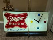 Vintage Working 1950and039s Miller Beer And039atomicand039 Lighted Clock Advertising Bar Sign