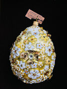 New In Box Jay Strongwater Golden Blossom Oval Crystal Ornament
