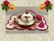 ❤rare Royal Doulton Old Country Roses Perfume Bottle Atomizer And Ocr Under Plate