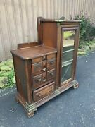 Antique Victorian Secretary Sewing Chest Display Cabinet Bookcase Glass Door Old