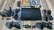 Playstation 3 Ps3 Cech-4301c Super Slim 500gb Console W/games, 2 Controllers +++