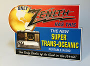 Zenith Trans Oceanic 7g605 Bomber Shortwave Radio Stand Up Ad Sign