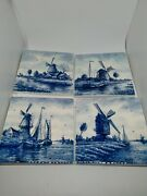 Vintage Delft 4 4 Square Tiles. Hand Painted In Holland.