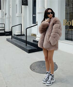 2021 Luxury Womenand039s Natural Fox Fur Coat Warm Whole Skin Fur Thick Overcoat Gift