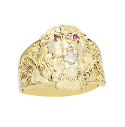 10k Yellow Gold Lion Ring Lion Head Ring Lion Face Ring