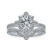 Classic Solid 18k White Gold 1 Ct Real Diamond Engagement Band Sets Size 5 8 6 9