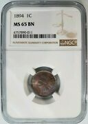 1894 Indian Head Cent Ngc Ms 65 Bn Penny Toner Toning Toned Coin End Roll Album