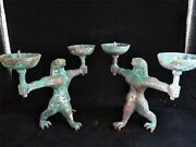 Chinese Bronze Lamps Candle Holders Inlay Silver Eagle Head Beast Dynasty Lamp
