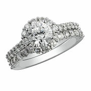 Natural Solitaire 1.80 Ct Round Diamond Engagement Ring Sets 14k Gold Size 7 8 9
